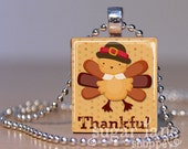 Thanksgiving Turkey Necklace - (Thankful, Brown, Maroon, Gold - TA1) - Scrabble Tile Pendant with Chain