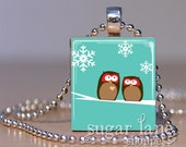 Owls in the Snow Necklace - (ACCA4 - Aqua Blue, Brown, White Snowflakes) - Scrabble Tile Pendant with chain