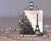 Eiffel Tower Promenade Necklace - (VPA4 - Paris, Black and White) - Scrabble Tile Pendant with Chain