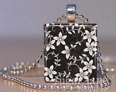Black and White Floral Print Necklace - (SPJA1 - Black, Charcoal Gray, White) - Scrabble Tile Pendant with Chain