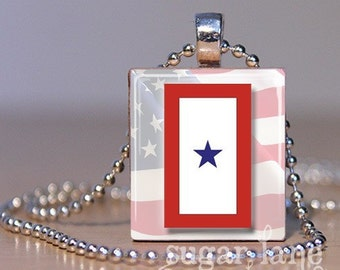 Military Service Flag Necklace - (One Star, Red, White, Blue) - Scrabble Tile Pendant with Chain