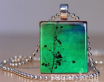 Dogwood Days Necklace - (DDC4 - Green, Blue, Branch Silhouette) - Scrabble Tile Pendant with Chain