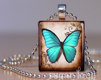 Turquoise Butterfly Necklace - (BA2 - Turquoise, Brown) - Scrabble Tile Pendant with Chain