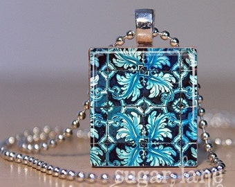 Mexican Tile Necklace - (Turquoise, Blue, Pattern) - Scrabble Tile Pendant with Chain