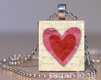 Double Hearts Necklace - (Love You Forever, Red, Pink) - Scrabble Tile Pendant with Chain