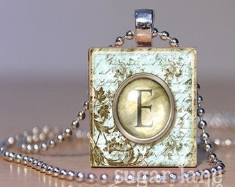 Monogram Initial Necklace - Vintage Typewriter Key - Scrabble Tile Pendant with Chain