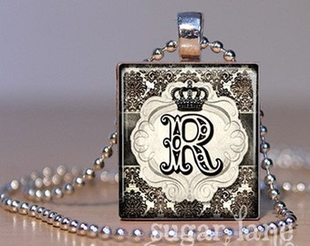 Monogram Initial Necklace - Your Choice of Letter - (Royal Crown, Black, Ivory) - Scrabble Tile Pendant with Chain