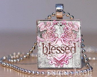 Blessed Scrabble Necklace - Gray, Pink - Scrabble Tile Pendant with Chain