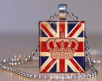 20% Off w/Coupon - British Flag and Crown Necklace - (ME5 - Red, Blue, Ivory, Distressed) - Scrabble Tile Pendant with Chain