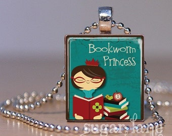 Bookworm Princess Necklace - (Teal, Burgandy, Brown) - Scrabble Tile Pendant with Chain