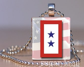 20% Off w/Coupon - Two-Star Military Service Flag Necklace - (Red, White, Blue) - Scrabble Tile Pendant with Chain