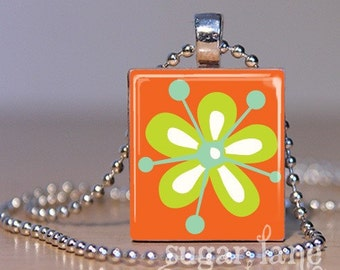 Retro Mod Flower Necklace - (QS2F4 - Orange, Lime Green, Aqua Blue) - Scrabble Tile Pendant with Chain