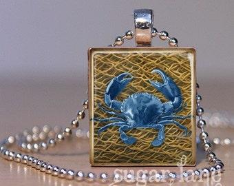 Blue Crab Scrabble Necklace - (RBE6 - Blue, Brown, Net) - Scrabble Tile Pendant with Chain