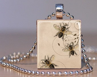 20% Off w/Coupon - Vintage Bees Necklace - (Ivory, Gold, Black) - Scrabble Tile Pendant with Chain