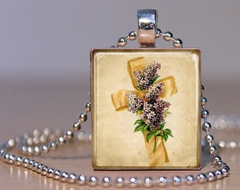 Ribbon Cross Scrabble Necklace - (HIRD4 - Easter, Purple Lilacs, Yellow, Ivory) - Scrabble Tile Pendant with Chain