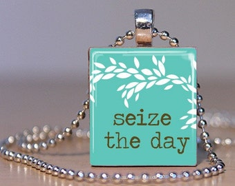 Seize The Day Necklace - (QS2F3 - Teal, Brown, White) - Scrabble Tile Pendant with Chain