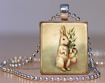 Vintage Easter Bunny with Lilies & Egg Necklace (EBCB2) - Scrabble Tile Pendant with Chain