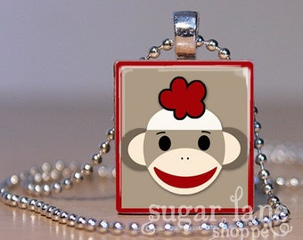 Sock Monkey Necklace - SMA1 - Red Border - Scrabble Tile Pendant with Chain