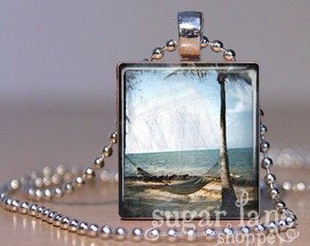 20% Off w/Coupon - Vintage Beach Hammock Necklace - (SVH3 - Sky, Sand, Ocean) - Scrabble Tile Pendant with Chain