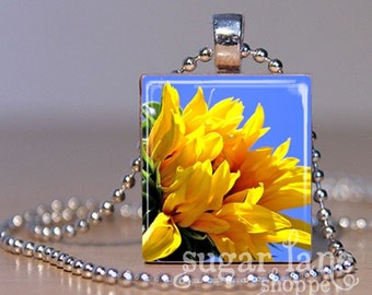 Yellow Sunflower Necklace - (Yellow, Blue, Green) - Scrabble Tile Pendant with Chain
