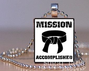 Karate Black Belt Necklace - Mission Accomplished (KD2) - Scrabble Tile Pendant with Chain