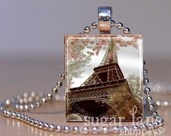 Vintage Paris in Spring Necklace - (VPA2, Eiffel Tower) - Scrabble Tile Pendant with Chain