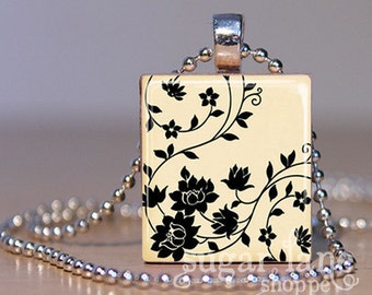 20% Off w/Coupon - Ivory and Black Floral Necklace - (SFG2) - Scrabble Tile Pendant with Chain