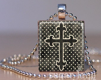 20% Off w/Coupon - Shabby Chic Cross Necklace - (MCCD3 - Black, Ivory Polka Dots) - Scrabble Tile Pendant with Chain