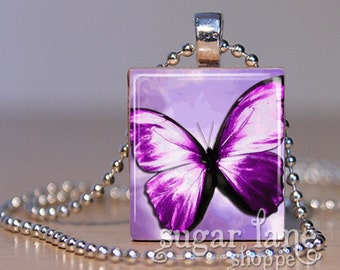 20% Off w/Coupon - Backlit Purple Butterfly Necklace - (IB9 - Purple, Lavendar, Black - Fibromyalgia)- Scrabble Tile Pendant with Chain