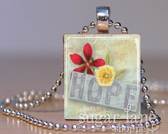 Hope Necklace - (NND2 - Flowers, Red, Yellow) - Scrabble Tile Pendant with Chain