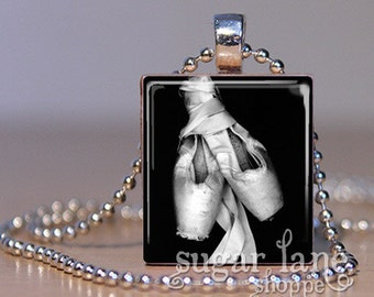 Ballet Pointe Shoes Necklace - (BE1 - Black and White) - Scrabble Tile Pendant with Chain