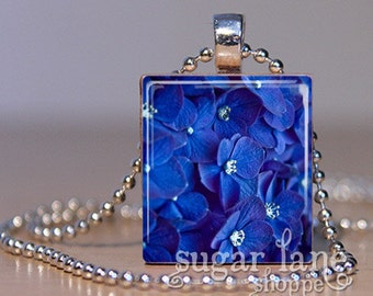 Blue Hydrangea Scrabble Necklace - (IE4 - Blue, Purple, Hydrangea) - Scrabble Tile Pendant with Chain