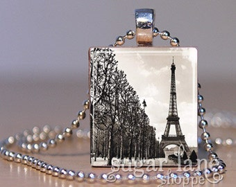 20% Off w/Coupon - Eiffel Tower Promenade Necklace - (VPA4 - Paris, Black and White) - Scrabble Tile Pendant with Chain