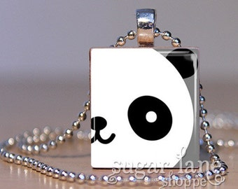 Scrabble Tile Pendant with Chain - Close-Up Panda Face Necklace - (IE8 - Black, White, Gray)