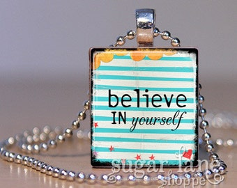 20% Off w/Coupon - Believe In Yourself Necklace (0320C3 -Aqua Stripes, Yellow, Red) - Scrabble Tile Pendant with Chain