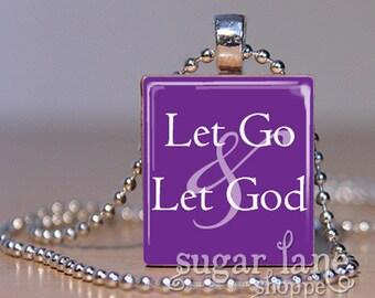 20% Off w/Coupon - Let Go & Let God Necklace - (SB3 - Purple, White) - Scrabble Tile Pendant with Chain