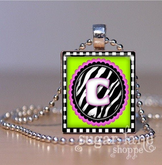 Monogram Initial Necklace - (Eye Candy - Lime, Pink and Zebra Stripe) - Scrabble Tile Pendant with Chain