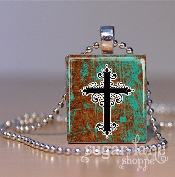 VerdiGris Cross Necklace No. 1 - Scrabble Tile Pendant with Chain