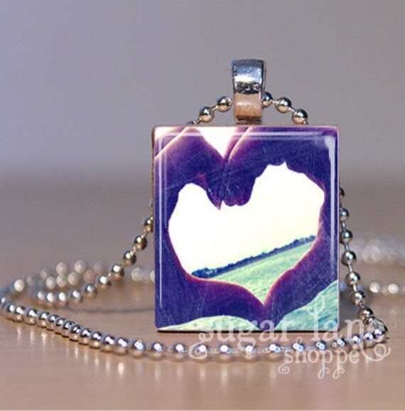 Heart-Shaped Hands Necklace - (SVD5 - Vintage-Look, Blue, White) - Scrabble Tile Pendant with Chain