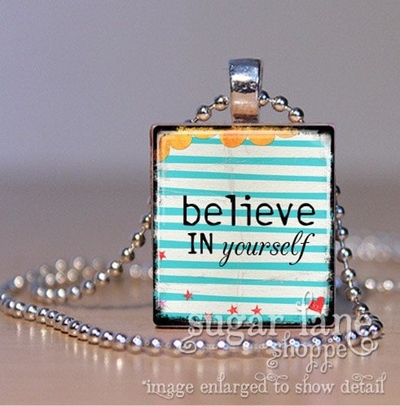 Believe In Yourself Necklace (0320C3 -Aqua Stripes, Yellow, Red) - Scrabble Tile Pendant with Chain