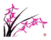 Orchid-Black and Pink-Set of five notecards