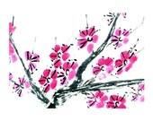 Plum Blossom-Pink-Set of five notecards