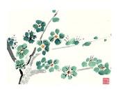 Plum Blossom - Teal - Notecard, set of 5