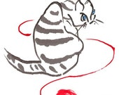 Kitten with yarn - Set of five notecards