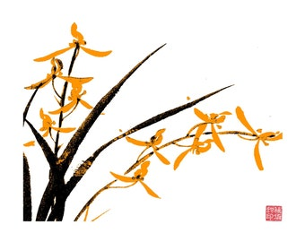 Orchid-Black and Orange - Set of five notecards