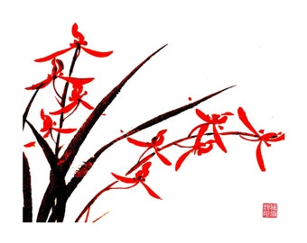 Orchid-Black and Red - Set of five notecards