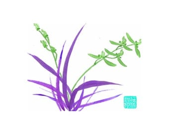 Orchid - Green 2 - Notecard, set of 5