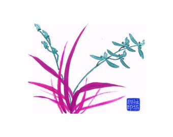 Orchid - Teal - Notecard, set of 5