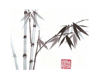Bamboo-Blue - Set of 5 Notecards