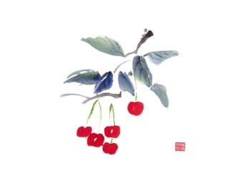 Cherries 1 - Notecard, set of 5